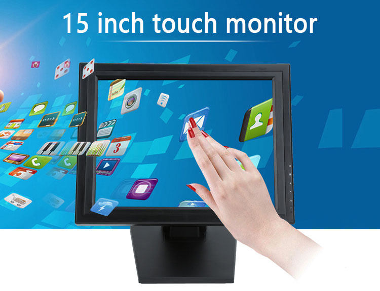 4/5 wire resistive touch monitor 15 inch for pos system