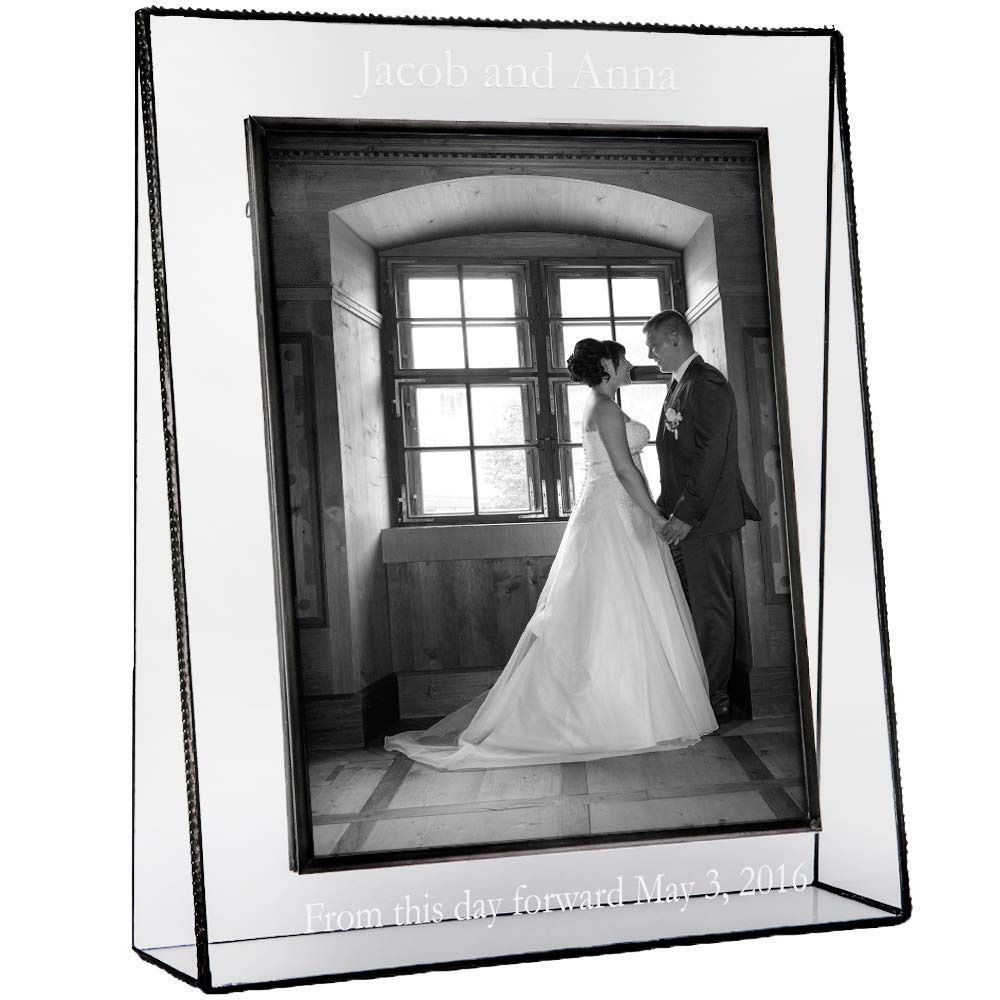 J Devlin Pic 319 EP 548 Series Personalized Wedding, Anniversary, Engagement Picture Frame - Clear Glass - Available in Multiple Photo Sizes (8x10 Vertical)
