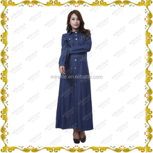 W331 Wholesale Malaysia fancy denim fabric Islamic women maxi overcoat