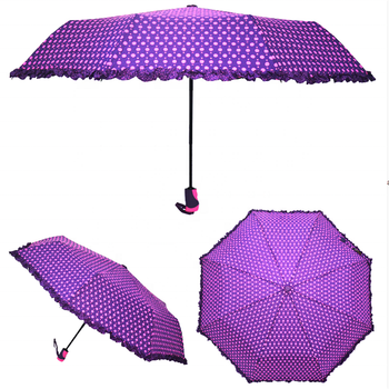 RST real star umbrella  xingbao automatic spot fabric with lace edge for lady folding umbrella