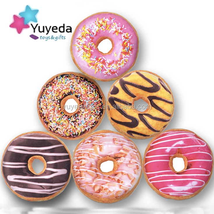 Creative design irregular shape pillow doughnut round plush food pillows
