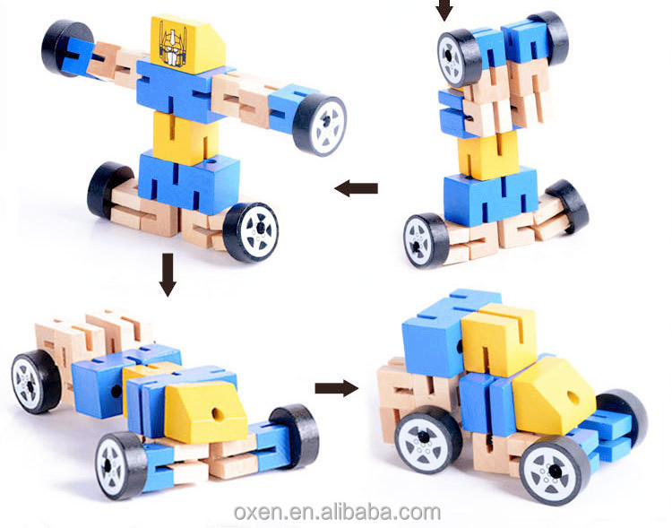 magic square cube transform mini wooden toy car