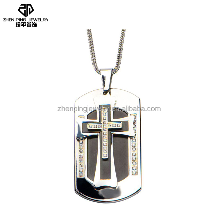 Stainless steel Diamond Cross Dog Tag Chain Pendant Jewelry