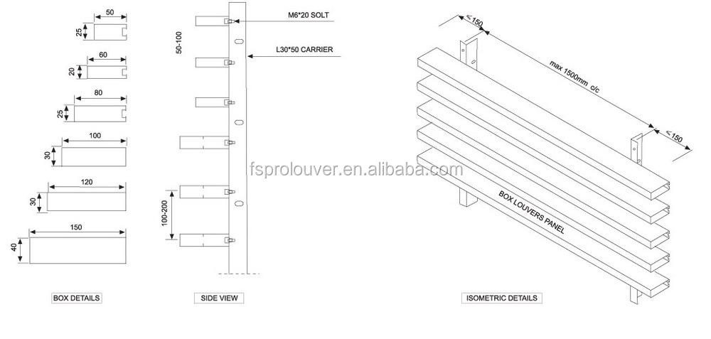 Architectural Vertical Sun Louver Box Sun Louver With