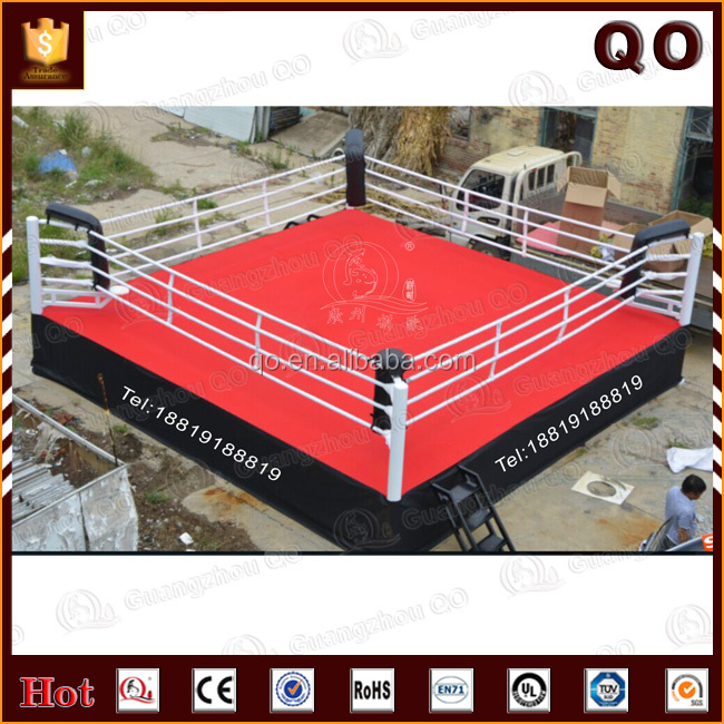 Professional competition thai boxing ring with strong ropes and corner pad