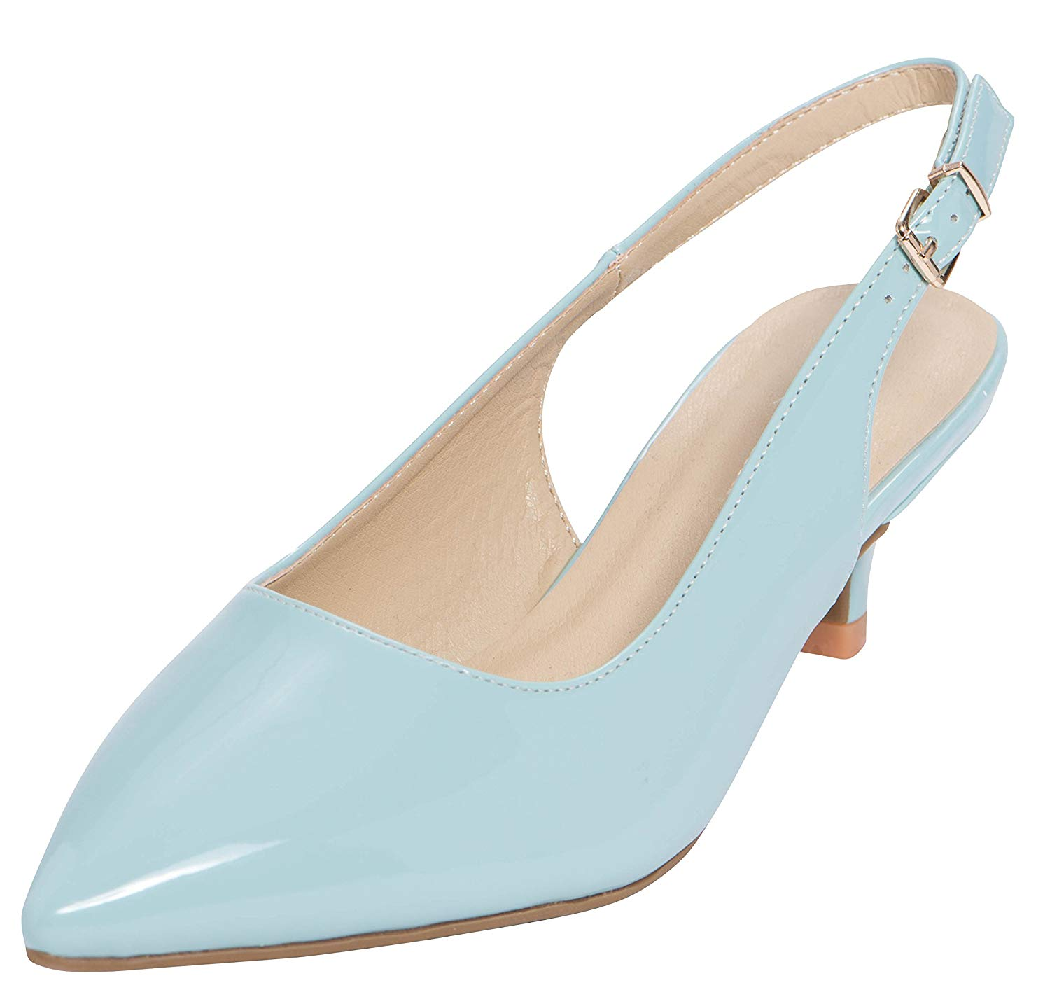 df5a5d01180 Get Quotations · Cambridge Select Women s Pointed Toe Slingback Kitten Heel  Pump