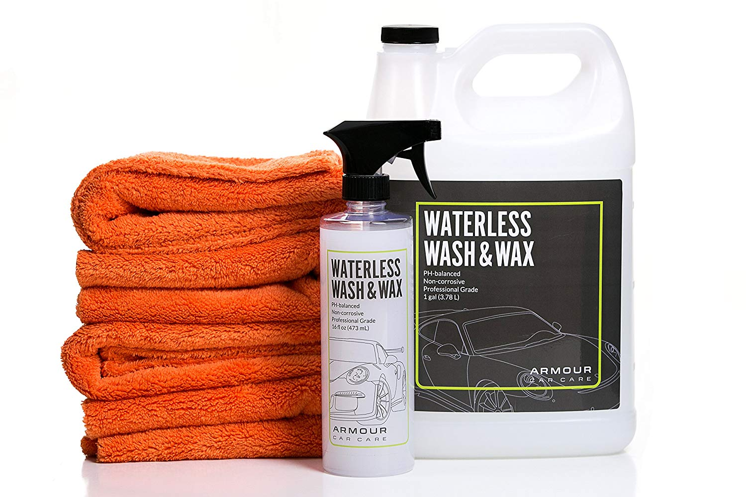Armour Car Care Dry Shine Waterless Car Wash & Wax 6 Piece Bundle | 4 Ultra Plush Microfiber Towels | 1 (16 oz) wash spray bottle and 1 (1 gal) refill of Waterless Carwash & Wax