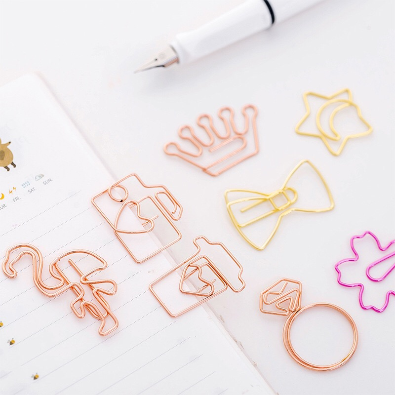 Mooie cartoon bookmark paperclip rose gold paperclip metalen modeling creative student leveringen