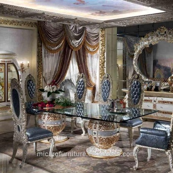 Royal Antique Baroque Style Glass Top Wooden Rectangular Dining Table Set With 8 Chairs And Two Bases Buy Wooden Dining Table Set Baroque Dining Table Set Glass Top Dining Table Set Product On
