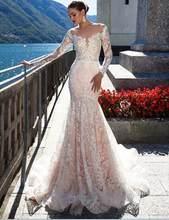 2019 кружево свадебное платье с длинным рукавом Сексуальная Vestido de русалка Sereia просвечивающей спиной и подолом, для Noiva роскошный невесты(China)