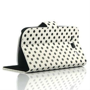 White Diary Style Polka Dots Leather Flip Case for Samsung Galaxy S3 i9300 with Free Screen Protector