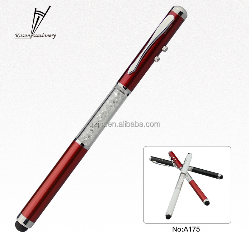 Promotion Crystal Pen LED Light Ball Pen Metal Touch Ballpoint Pen with Logo