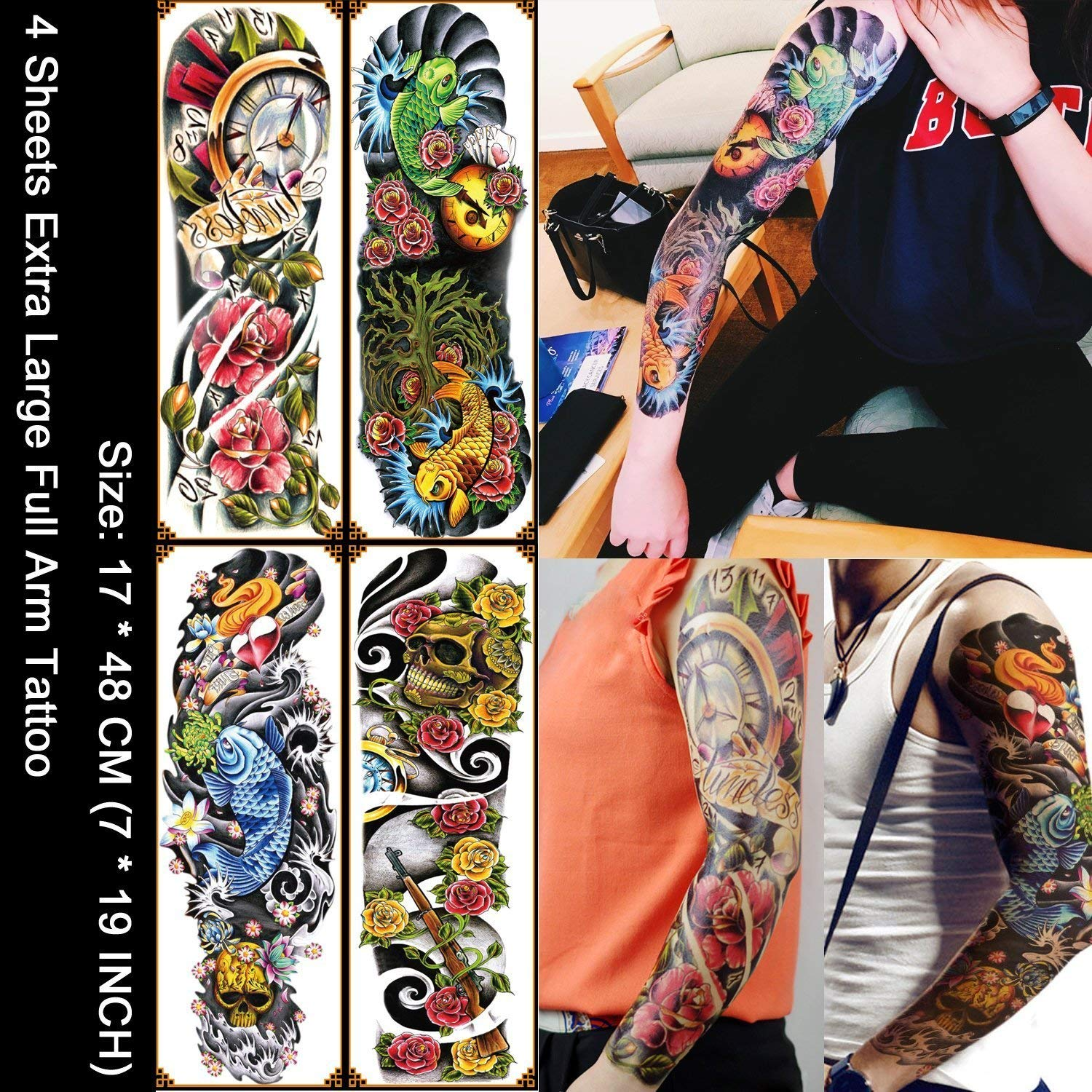 b445554c9 Get Quotations · EYLEER 4 Sheets Realistic Temporary Tattoos Cover  Set,Large Full Arm Temporary Tattoo Waterproof Tattoos