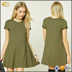 Ecoach new arrival autumn summer fashion short sleeve round neck Rolled Cuff women smart casual swing dress