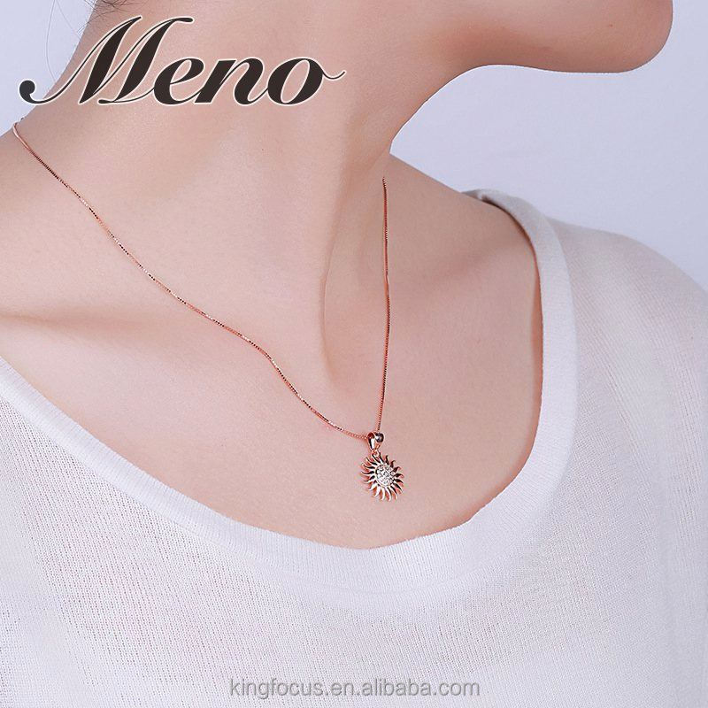 Meno 925 sterling silver rose gold plated sun inlay AAA CZ pendant jewelry