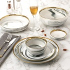 Best selling gold rimmed china marble bowl Fine Porcelain dishes bowl dinner ware
