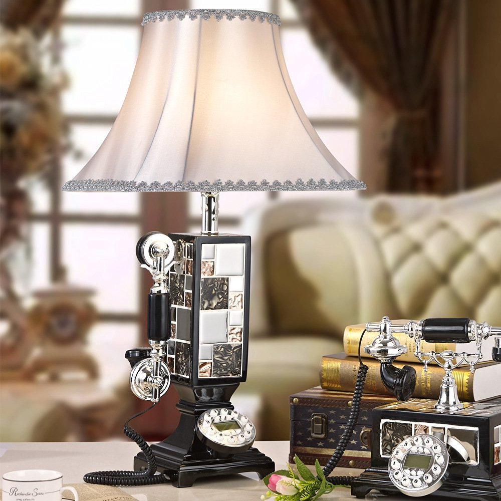 Telephone table lamp table lamp bedside lamp simple one Continental European telephone table lamp study table lamp bedside lamp , 213 black