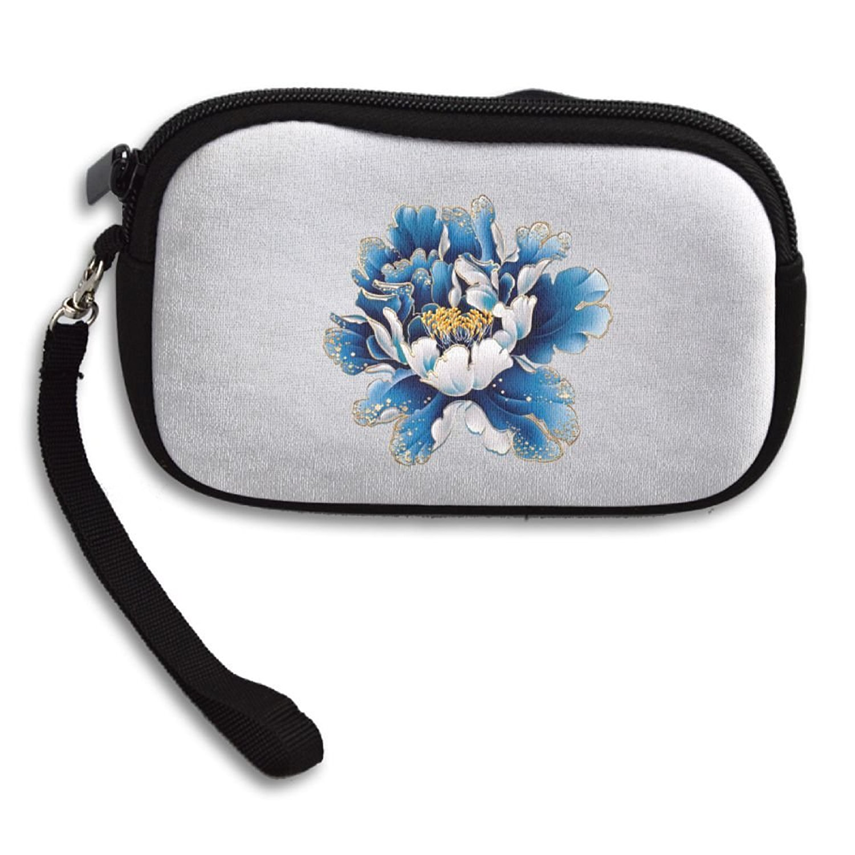 Showydma peony wallet bag Unisex pretty peony purse blue peony logo white little purse
