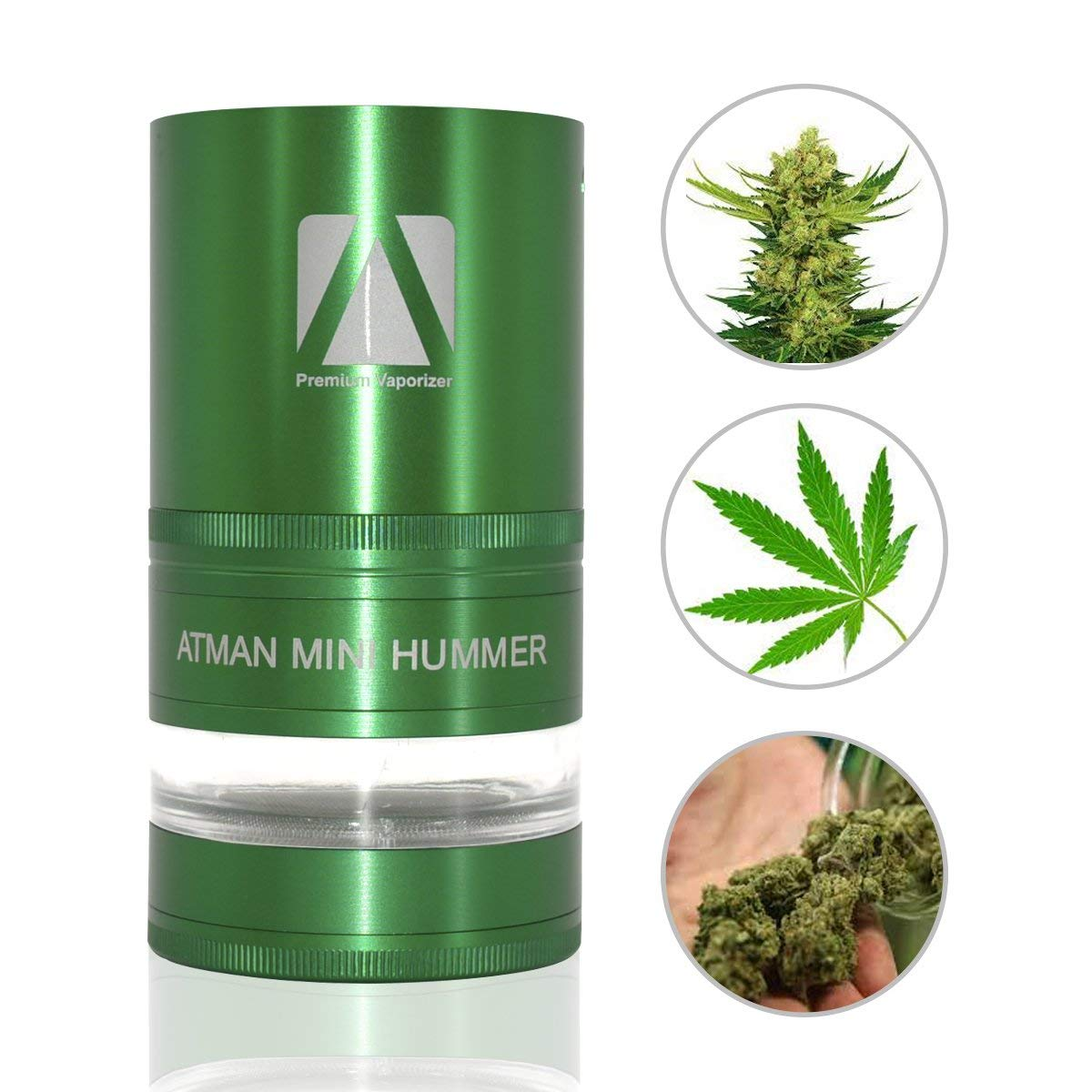 ATMAN Mini Hummer Electric Weed Herb Tobacco Grinder Mill Crusher Grinder Cracker - Automatic Operation, Electronic Battery Powered (Green)
