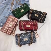 2019 new shining diamond CANDY JELLY PLASTIC BEACH BAG with metal chain