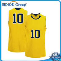 reversible design 2014 cheap basketball jersey uniform yellow color