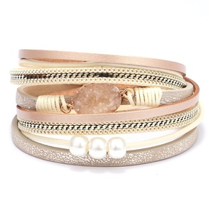 Bohemia Womens Multilayer Natural Gravel Stone 3 pcs Pearls Braided Leather Wrap Bracelets with magnetic clasp