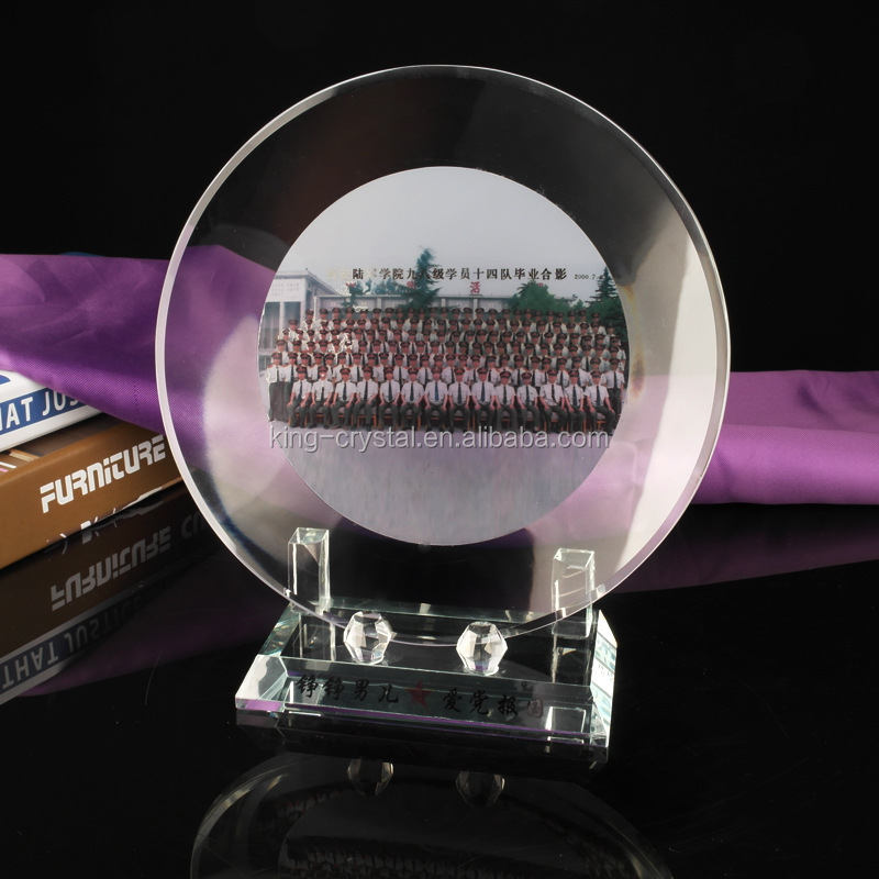 Top Quality Round Crystal Photo Customized Crystal Trophy With Base for Award Gifts