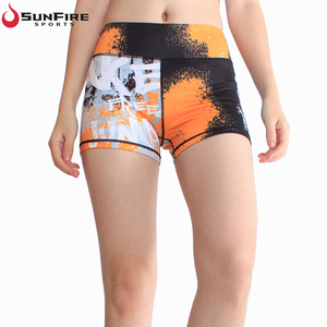 Custom high waist sublimation printing good color fastness activewear breathable fitness yoga shorts