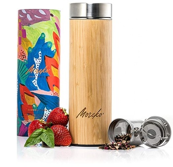 ECO  Bamboo Travel Tumbler with Tea Infuser and Strainer - Insulated, Double Wall Stainless Steel Thermos for Teas, Coffee