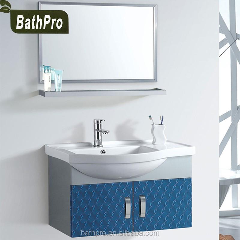 estilo moderno pared cuelgan de acero inoxidable mueble de bao con espejo