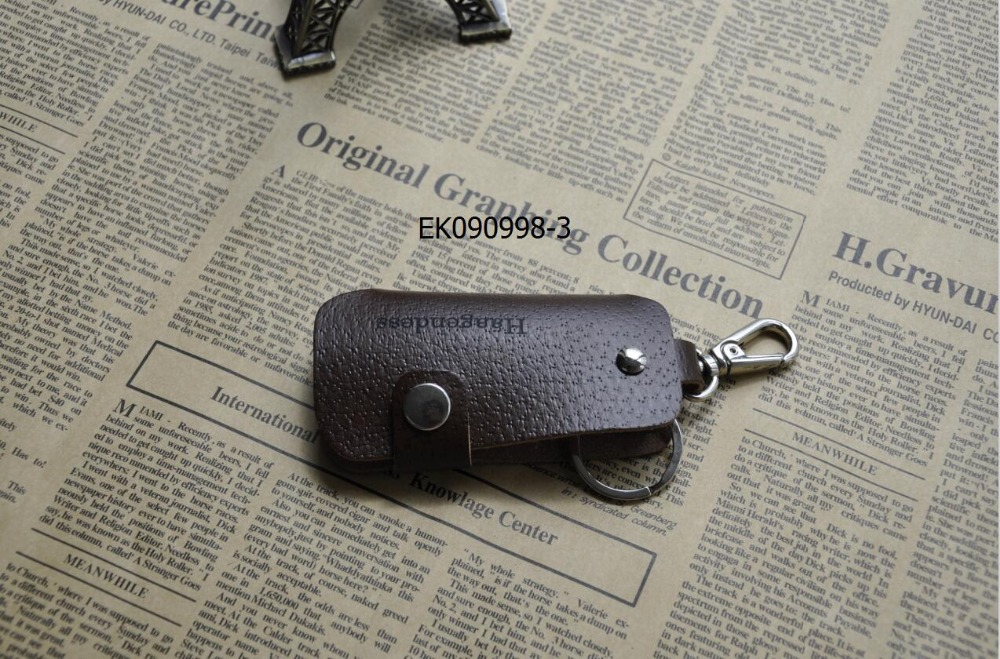 Nice quality fashion men and women leather car key chain holder pouch