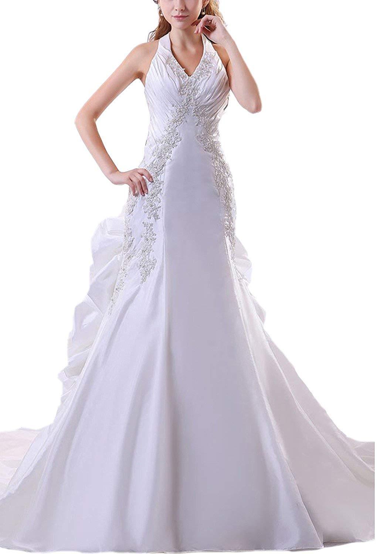 Angel Formal Dresses Taffeta Beading Applique Halter Mermaid Wedding Dresses