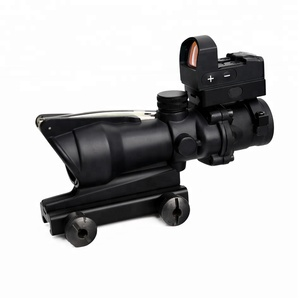 ACOG 4x32 green fiber optical scope with mini red dot sight duel illuminated riflescope for hunting