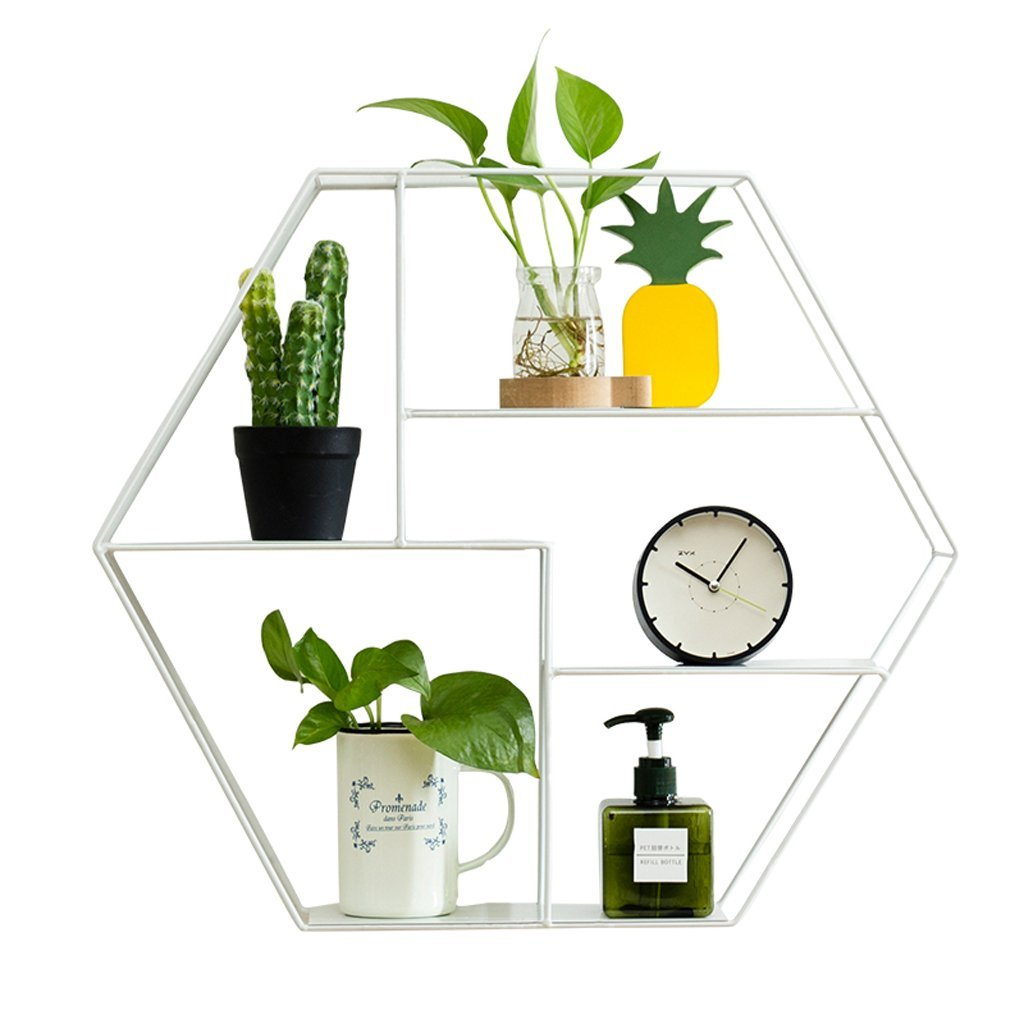 Wall Iron Multilayer Shelves, Hexagonal Multilayer Shelves, Wall Tea Shop Living Room Dining Room Wall Decoration, White (L52 W11 H45cm)