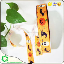 SHECAN Halloween Lovely design pumpkin patterned printed on grosgrain ribbon