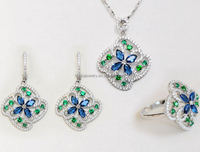 18k White Gold Blue And Green Cubic Zircon Indian Fashion Bridal Jewelry Sets Online