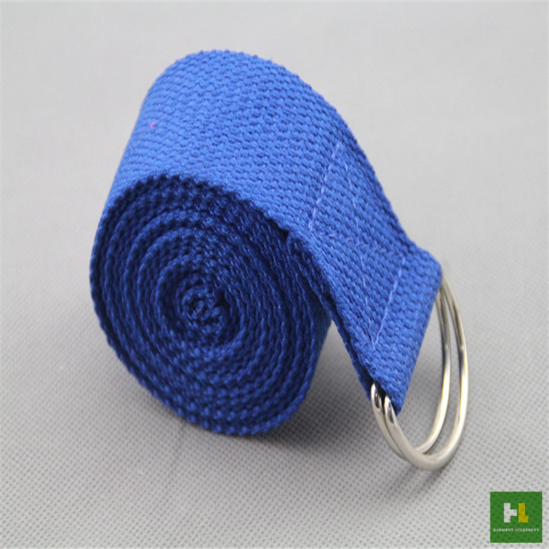 D Ring yoga cotton belt / yoga carry strap / yoga stretching strap