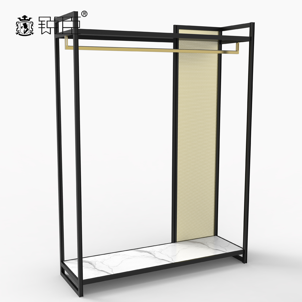High End Retail Apparel Hanging Display shelves Metal Clothes Display <strong>Stand</strong> for Shop