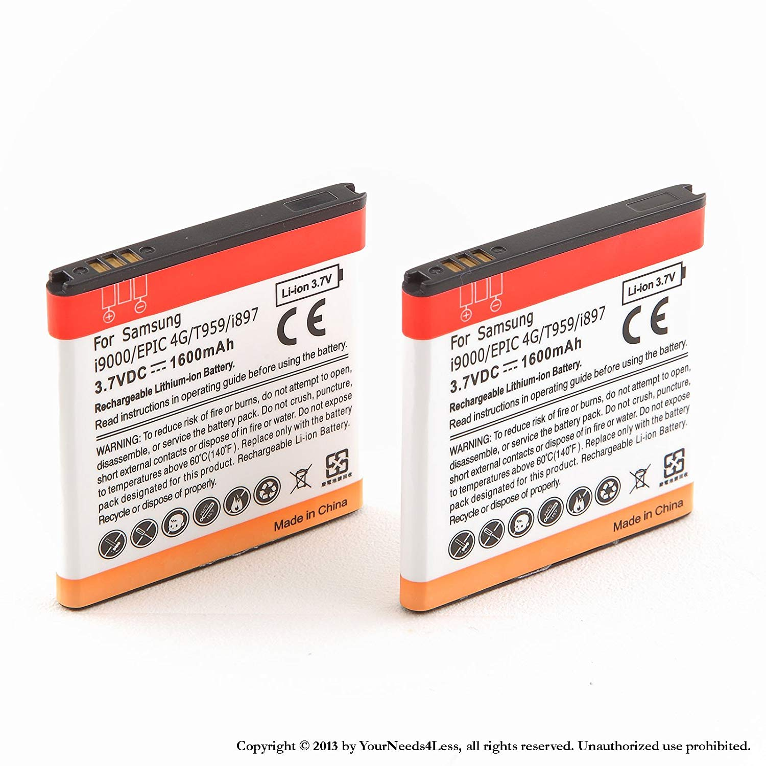 YN4L 2 X 1600mAh Replacement Batteries for Samsung Galaxy S i9000 ; Captivate i897 ; Vibrant T959 ; Epic 4G