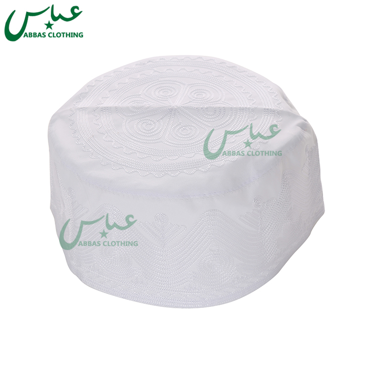 White Prayer Men Cap Islamic Hat Embroidered Saudi Soft Caps