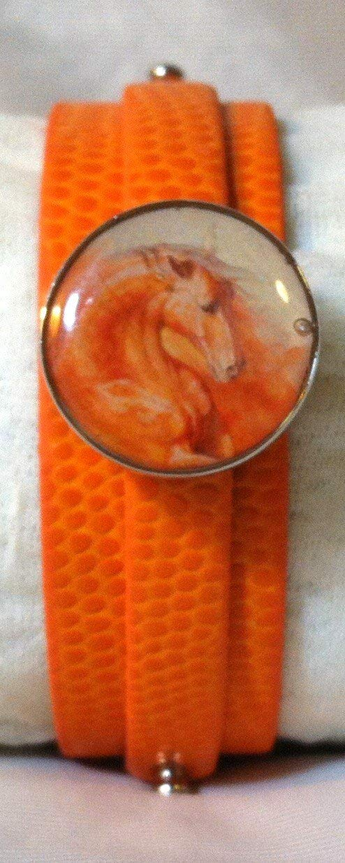 Leather SNAP BRACELET with HORSE SNAP Fire Orange Horse 3 color choices SOME WITH BUBBLES!
