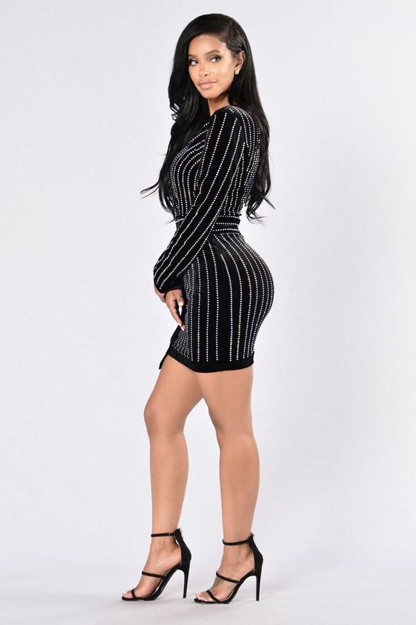 V Neck Long Sleeve Ladies Sexy Beaded Black Wrap Dress
