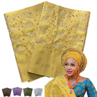 AH80504 NEW african aso oke headtie with beads and stones for ladies party wedding head warp with beads