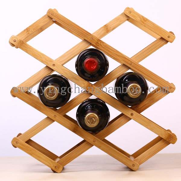 Household bamboo foldable wine rack