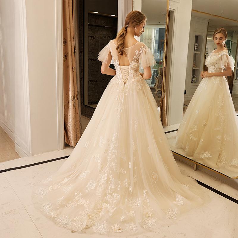 c831cd16eb New Wedding Dress 2018 Bridal Gown Romantic Glitter Fabric Open Back  Wedding Gowns