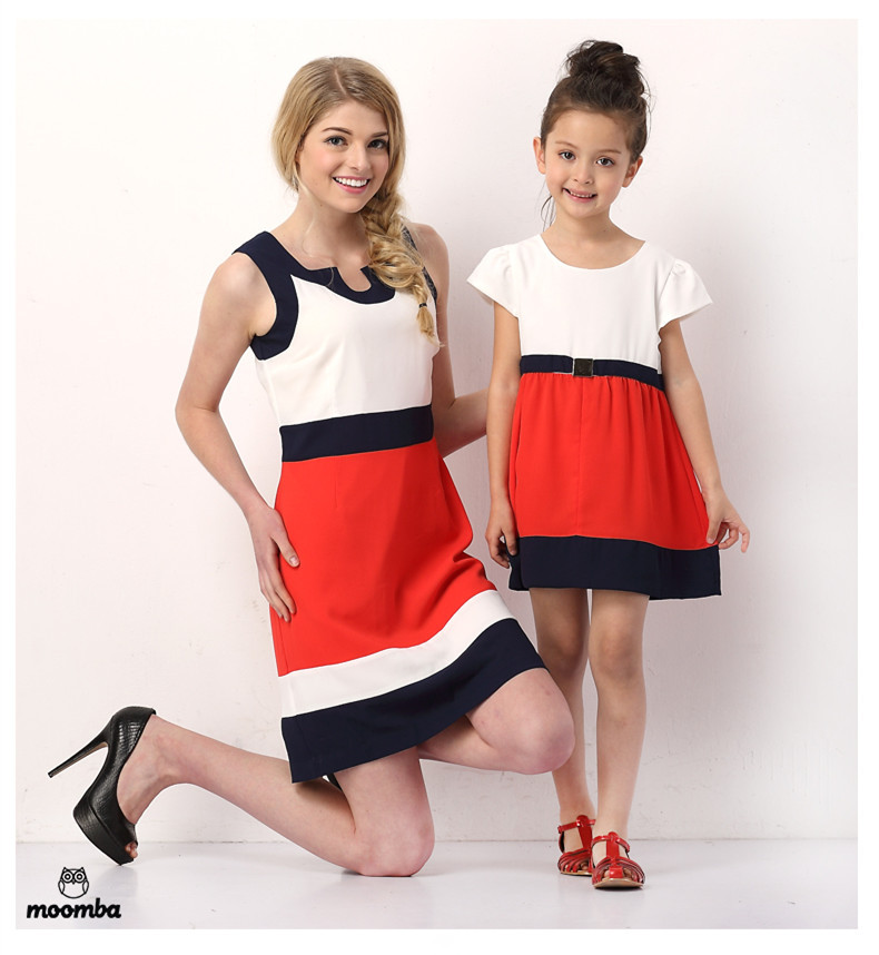 best quality family matching clothes dress,2015 summer style mom and daughter dress for women and girl Joining together dresses