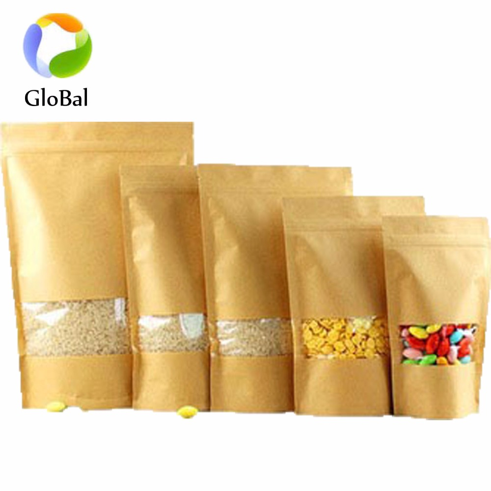 Welcome design your own Brown kraft paper aluminum foil for dried fruit packaging bags with zip lock