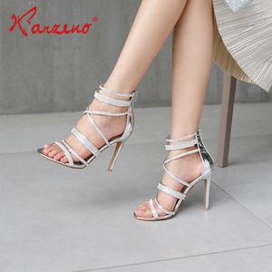 New Fashion Sliver PU Leather Multi Straps Slim High Heel Sandals