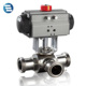 Sanitary AISI 304 316L Stainless Steel Pneumatic Three Way Ball Valve