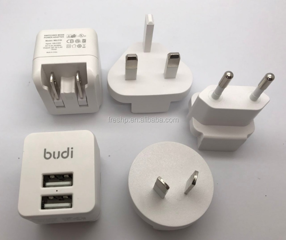 budi NEW hot sale switching mode power adapter 2 USB travel charger with EU UK AU switch plug GS UL CE certificate